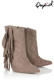 Qupid Side Fringe Heeled Boots