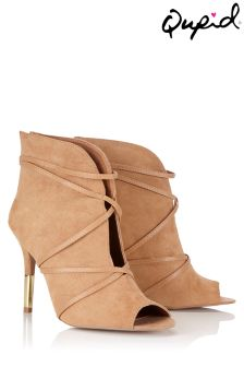 Qupid Strapped Heeled Peep Toe Booties.