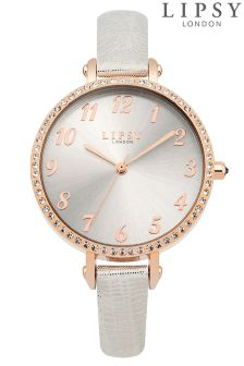 Lipsy Diamante Rose Gold Face Watch