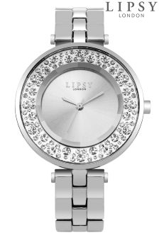 Lipsy Diamante Silver Face Watch
