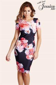 Jessica Wright Floral Print Cold Shoulder Bodycon Dress