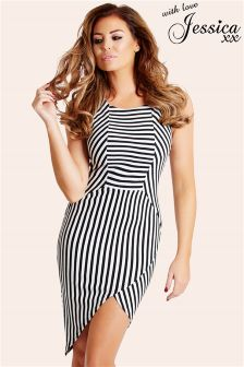 Jessica Wright Striped Asymmetric Hem Dress