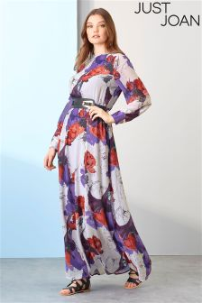 Just Joan Belted Orchid Print Maxi Dress