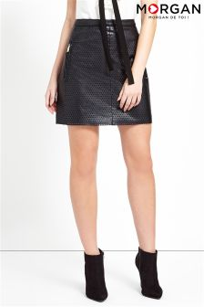Morgan Cut Out Detail Faux Leather Skirt