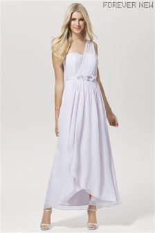 Forever New Ruched One Shoulder Silk Maxi Dress