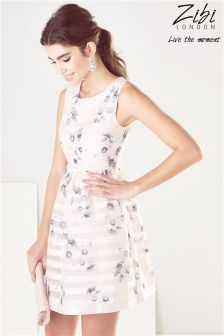 Zibi London Stripe Floral Print Organza Prom Dress