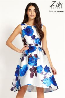 Zibi Rose Print High Low Prom Dress