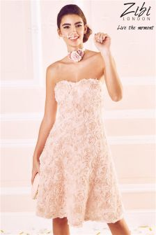 Zibi London Rosae Applique Strapless Prom Dress