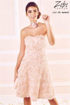 Zibi London Rosae Applique Strapless Prom Dress