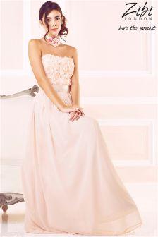 Zibi London Rose Appliqué Maxi Dress