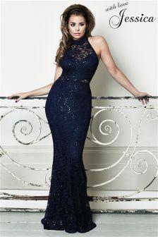 Jessica Wright Sequin Halterneck Cutout Lace Maxi Dress