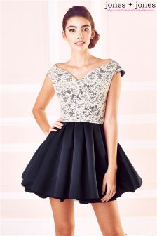 Jones + Jones Lace Bodice Bardot Prom Dress