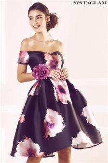 Sistaglam Oversized Floral Print Bardot Dress