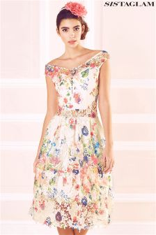 Sistaglam Printed Lace Bardot Dress
