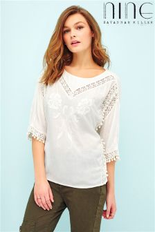 Nine By Savannah Miller Short Sleeve Pom Pom Top