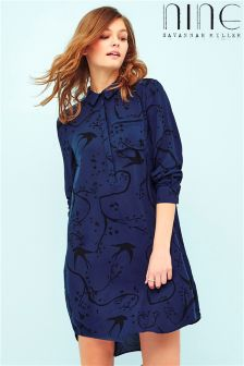 Nine By Savannah Miller Long Sleeve Bloomsbury Print Collar Shirt Dress