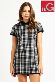 Wal G Check Tunic Collar Dress