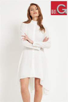 Wal G Collarless Dip Hem Shirt Dress
