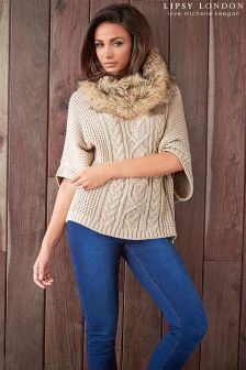 Lipsy Love Michelle Keegan Fur Collar Batwing Jumper