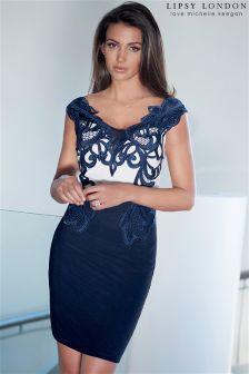 Lipsy Love Michelle Keegan Appliqué Bardot Bodycon Dress