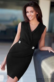 Lipsy Love Michelle Keegan Black Wrap Buckle Dress