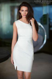 Lipsy Love Michelle Keegan PU Pleat Smart Dress