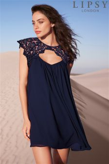 Lipsy Lace Trim Chiffon Dress