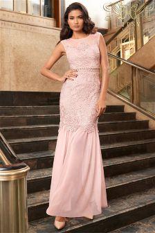 Lipsy Vip Lace Maxi Embellished Waist Dress