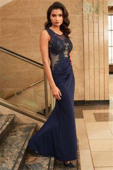 VIP Leaf Applique Maxi Dress