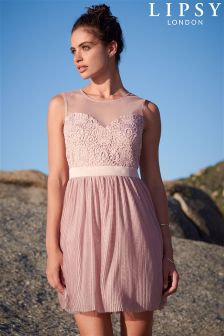 Lipsy Lace Top Pleat Skirt Prom Dress