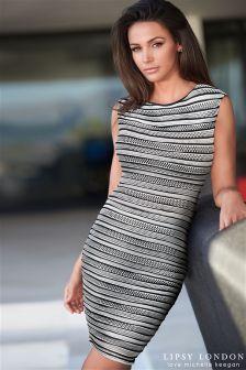 Lipsy Love Michelle Keegan Ripple Stripe Bodycon Dress