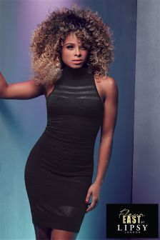 Fleur East By Lipsy Mesh Stripe Dress