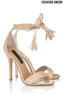 Fashion Union Lace Up Barely There Heels