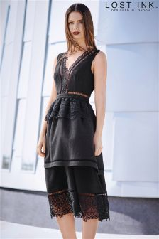 Lost Ink V neck Tiered Skirt Dress