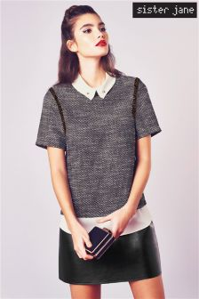 Sister Jane 2 in 1  Short Sleeve Boucle Top