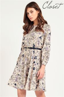 Closet Spring Floral Belted Dress