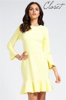 Closet Bell Sleeve Peplum Dress