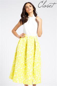 Closet Jacquard Midi Slit Dress