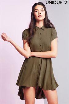 Unique 21 Dip Hem Tunic Shirt Dress