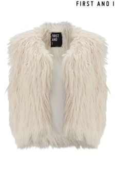 First And I Faux Fur Cropped Gilet