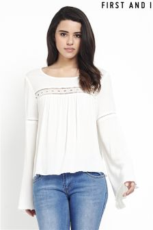 First And I Lace Detail Bell Sleeve Top