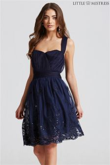 Little Mistress Fit Flare Mesh Embroidered Dress