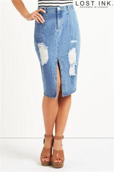 Lost Ink Denim Pencil Skirt