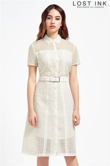 Lost Ink Belted Collar Dress