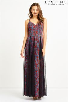 Lost Ink Print Mesh Insert Maxi Dress