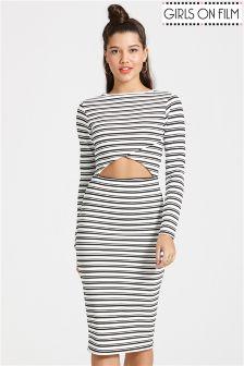 Girls On Film Stripe Cutout Bodycon Dress