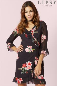 Lipsy Printed Long Sleeve Ruffle Wrap Dress