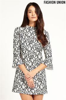 Fashion Union Printed Lace Dress