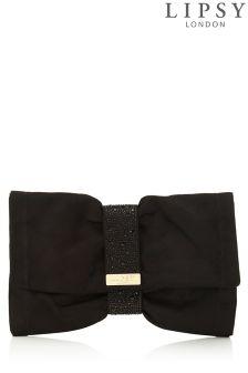 Lipsy Black Diamante Soft Bow Clutch