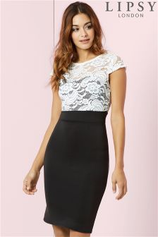 Lipsy Lace Top Bodycon Dress